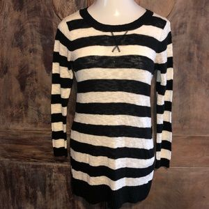 Ivory & Black Long Length Sweater